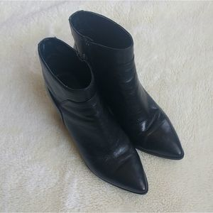 Nine West Black Leather Heeled Booties